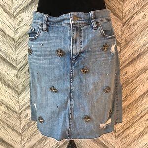 LOFT Embellished Denim Skirt, size 12